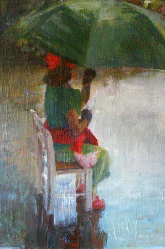 """Henia Flynn's """"Magda in the Rain"""" Acrylic on Canvas 18"""" x 24"""""""