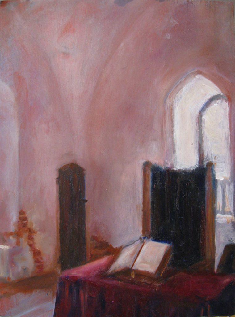 "Henia Flynn's ""Castle Interior, Latvia"" Acrylic on Wood Panel 11"" x 14"""