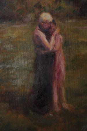 "Henia Flynn's ""Motherly Love"" Acrylic on Board, 9"" x 12"""