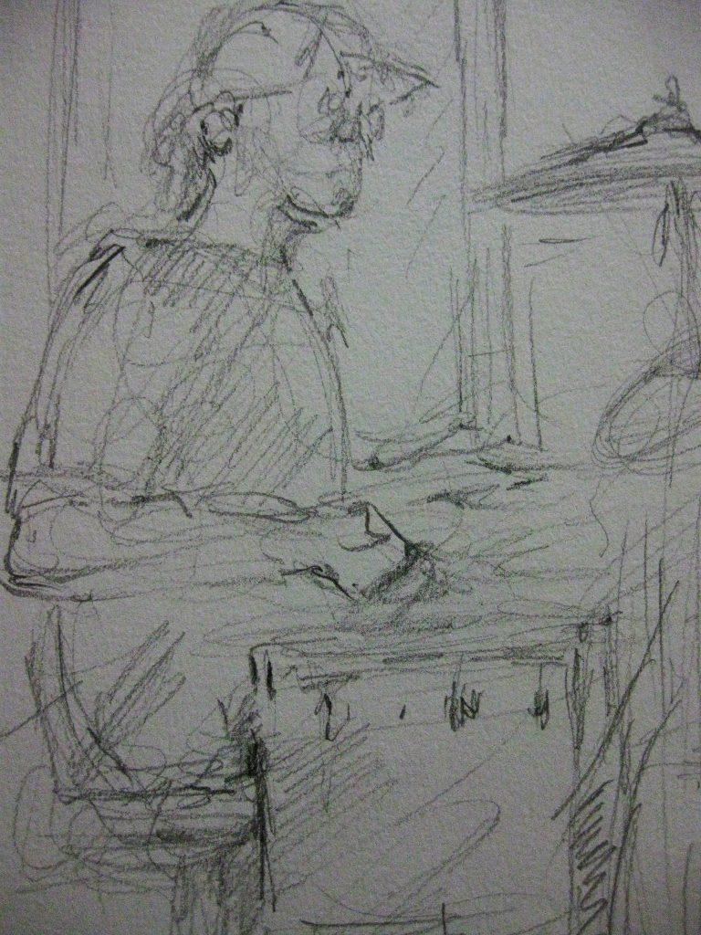 "Henia Flynn's ""Aaron On the Drums"" Pencil Sketch from Life"