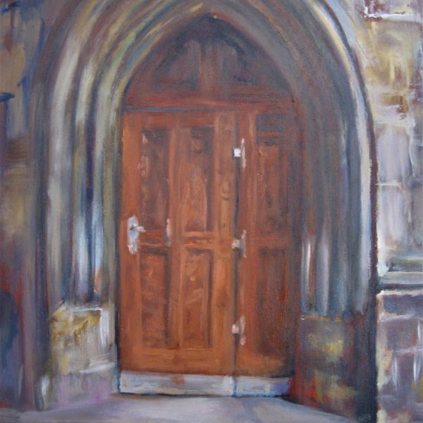"Henia Flynn's ""Church Door"" Oil on Board 11"" x 14"""