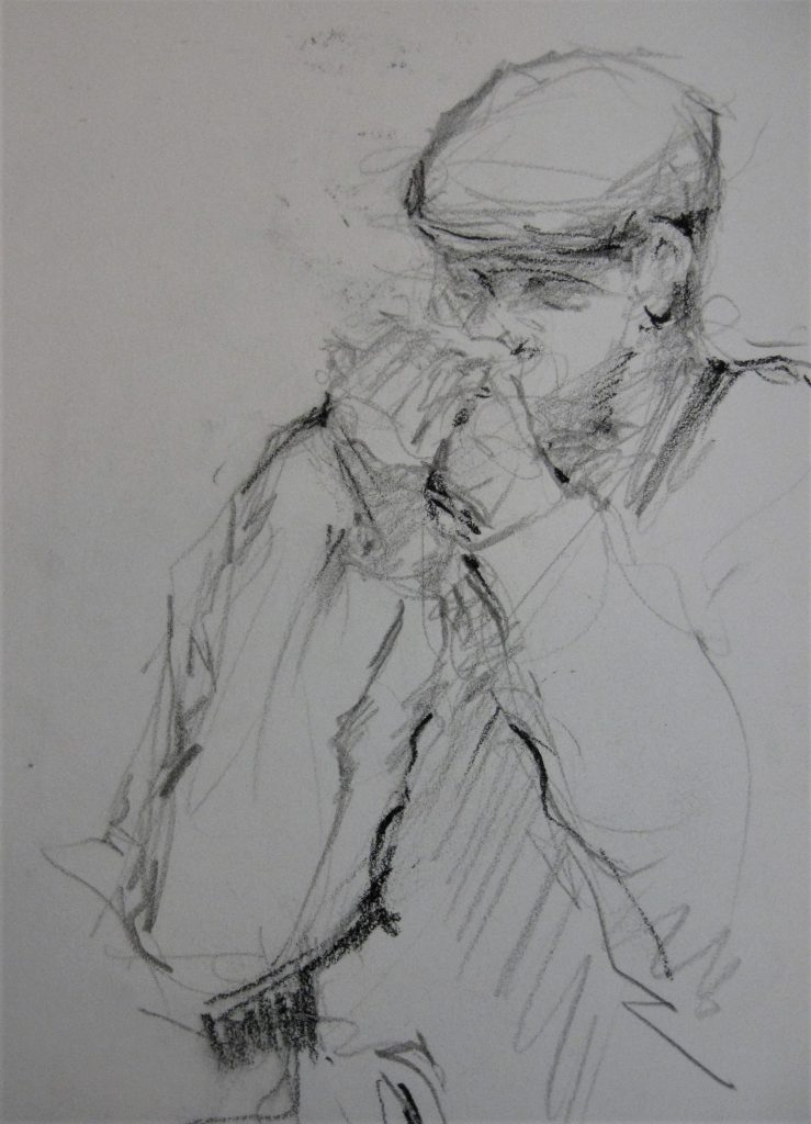 "Henia Flynn's ""Harmonica Player"" Charcoal Sketch from Life"