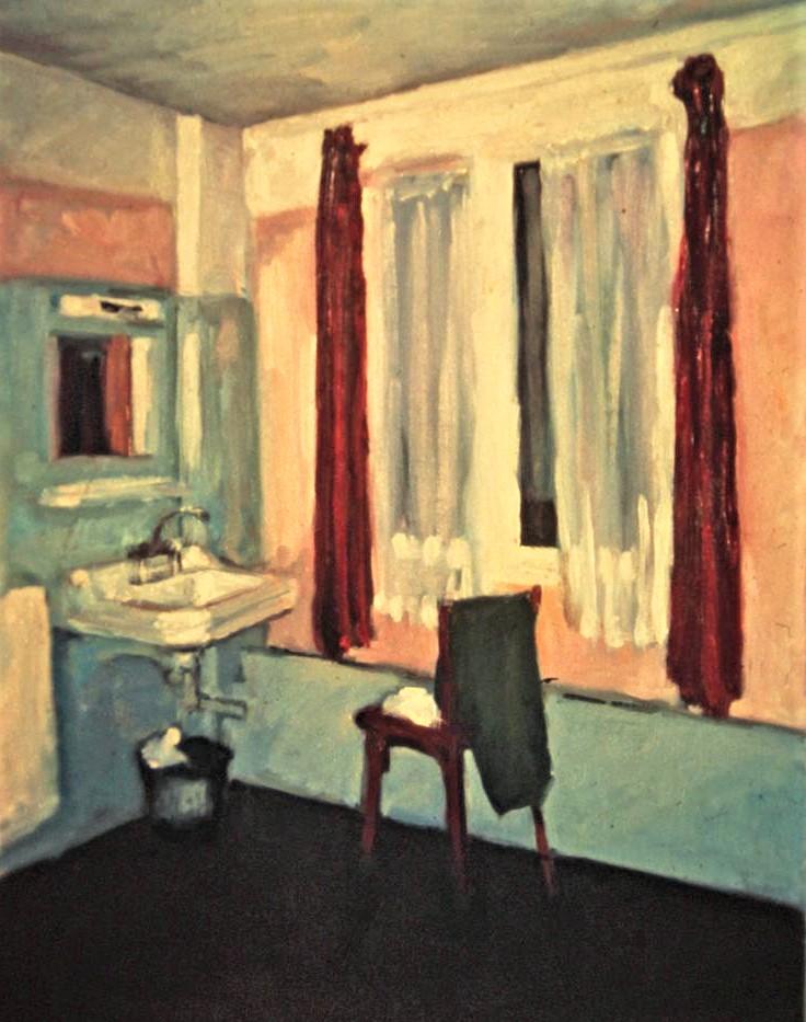 "Henia Flynn's ""Marais Hotel Room"" Oil on Board 11"" x 14"""