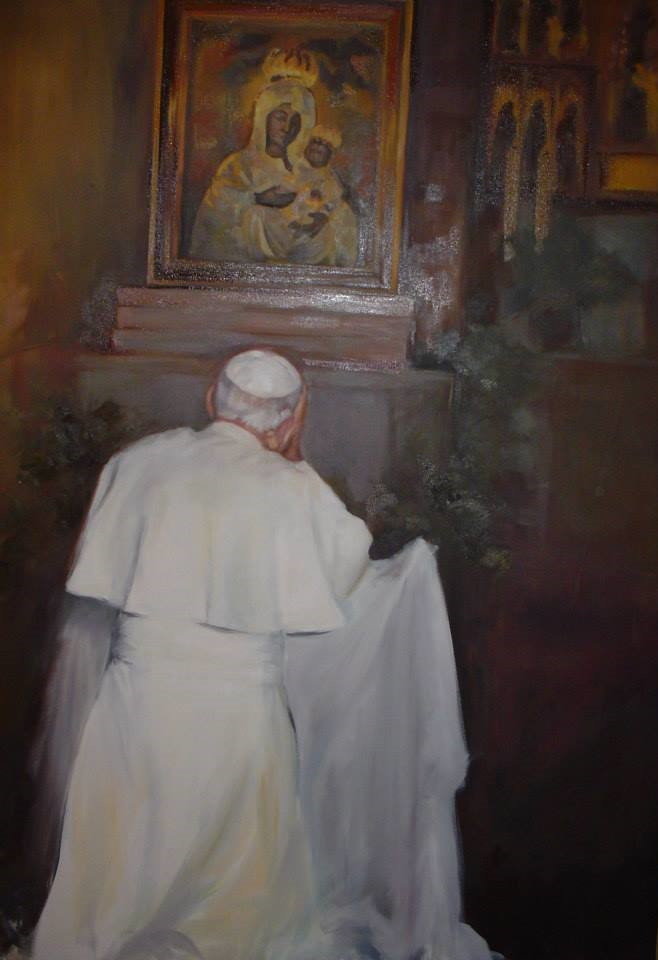 "Henia Flynn's ""Pope John Paul II Before Our Lady of Gietrzwald"" Oil on Canvas"