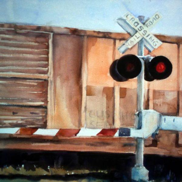"""Henia Flynn's """"Railroad  Crossing""""  Watercolor 24"""" x 36"""""""