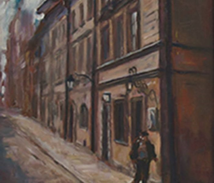 "Henia Flynn's ""Warsaw Street Corner"" Oil on Board 12"" x 16"""