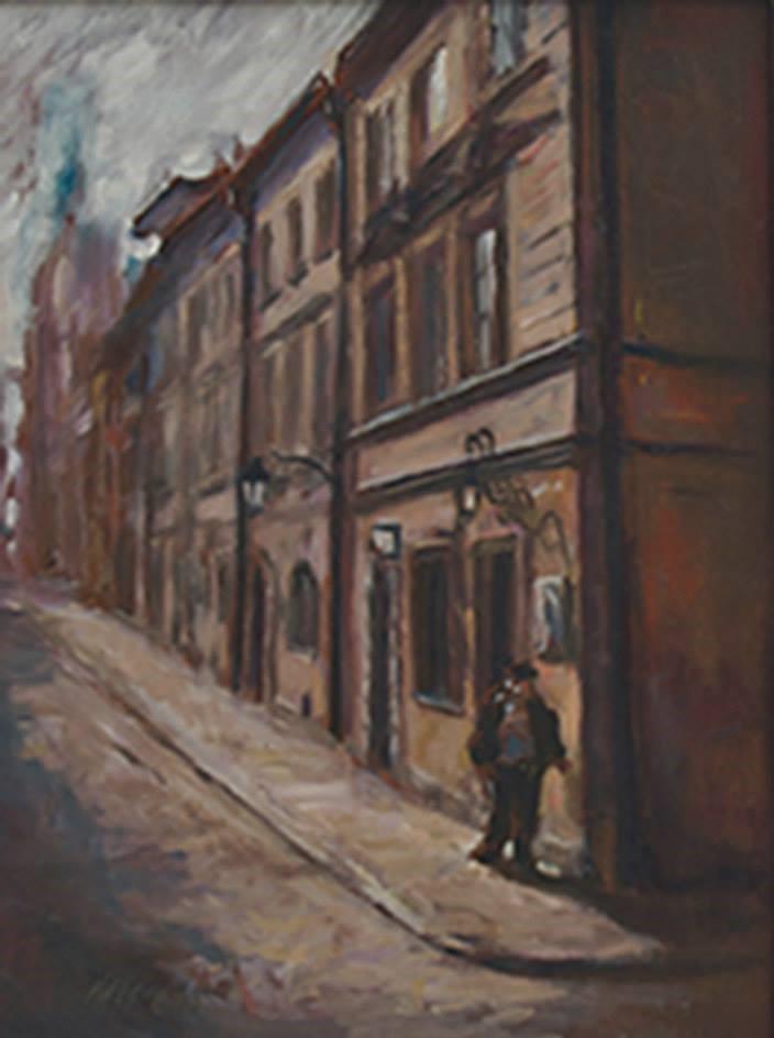 """Henia Flynn's """"Warsaw Street Corner"""" Oil on Board 12"""" x 16"""""""