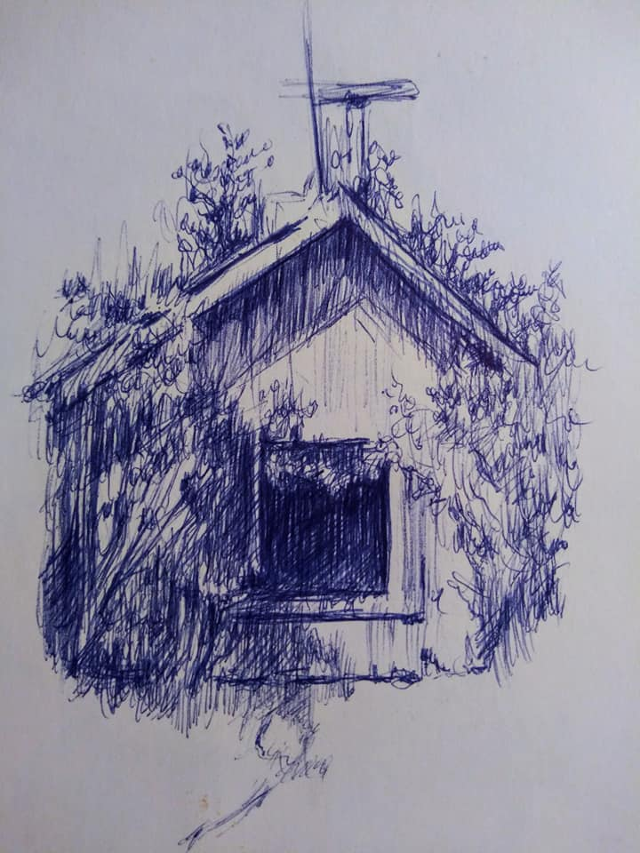 "Henia Flynn's ""Barn"" Ballpoint Pen Sketch on Paper"