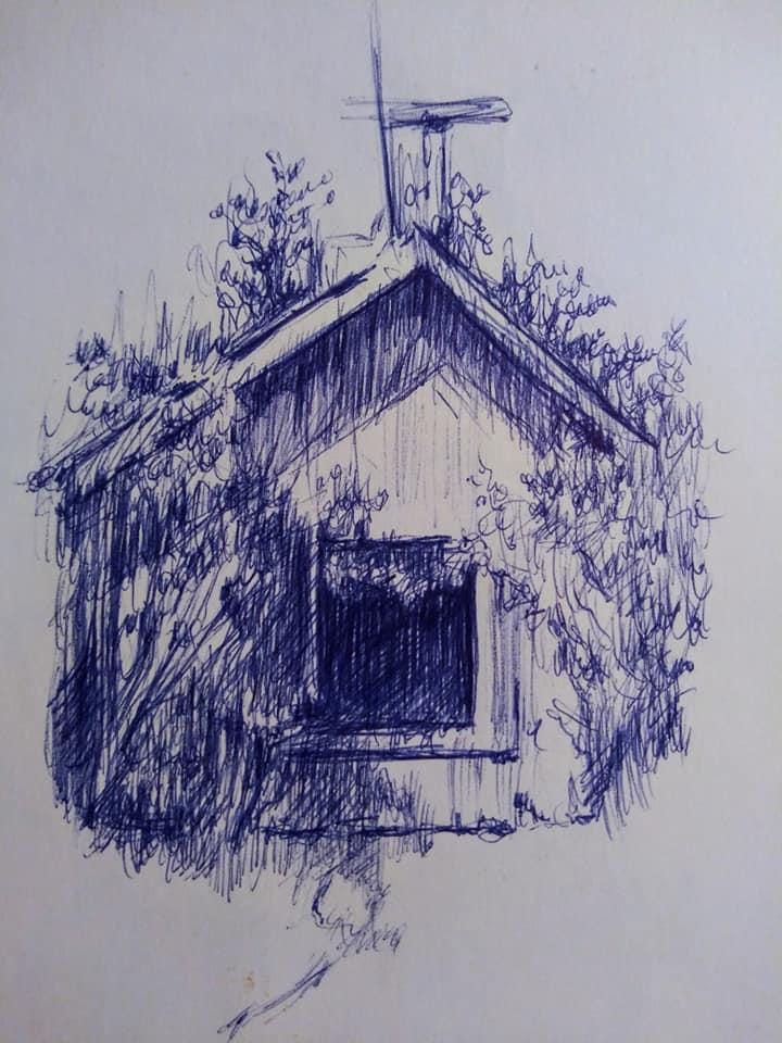 "Henia Flynn's ""Barn"" Ballpoint Pen Sketch on Paper"