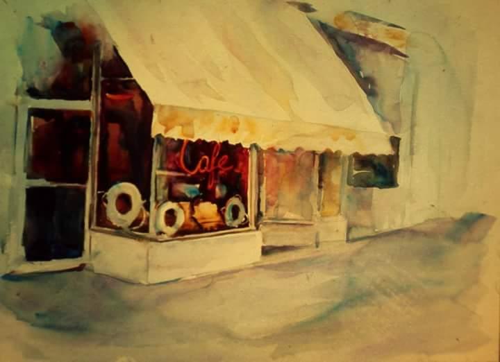 "Henia Flynn's ""Cafe, Lake Geneva"" Watercolor on Board"