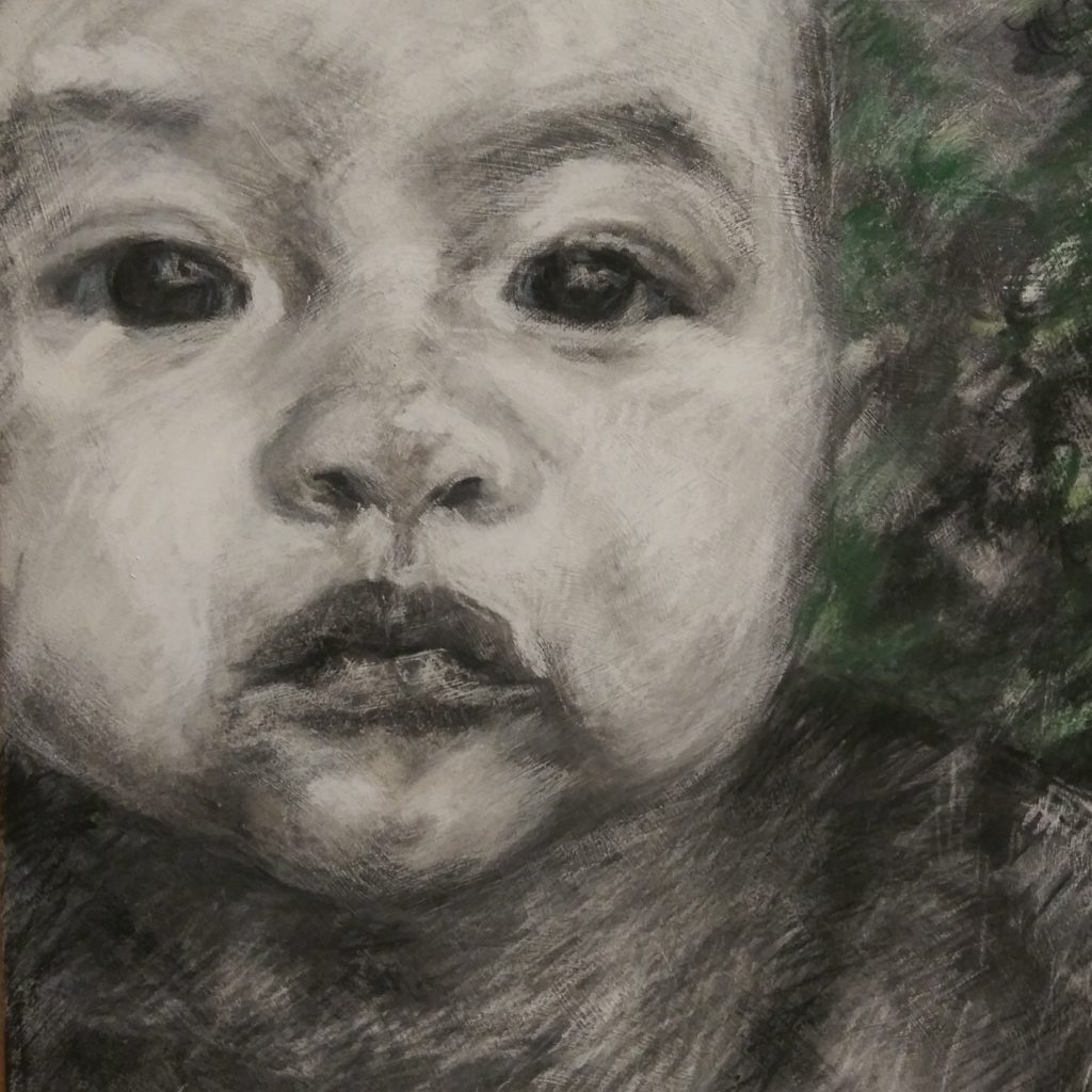 "Henia Flynn's 'Izaura' Charcoal on Gessoed Board 8"" x 10"""