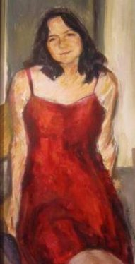"Henia Flynn's ""Red Dress' Acrylic on Board"