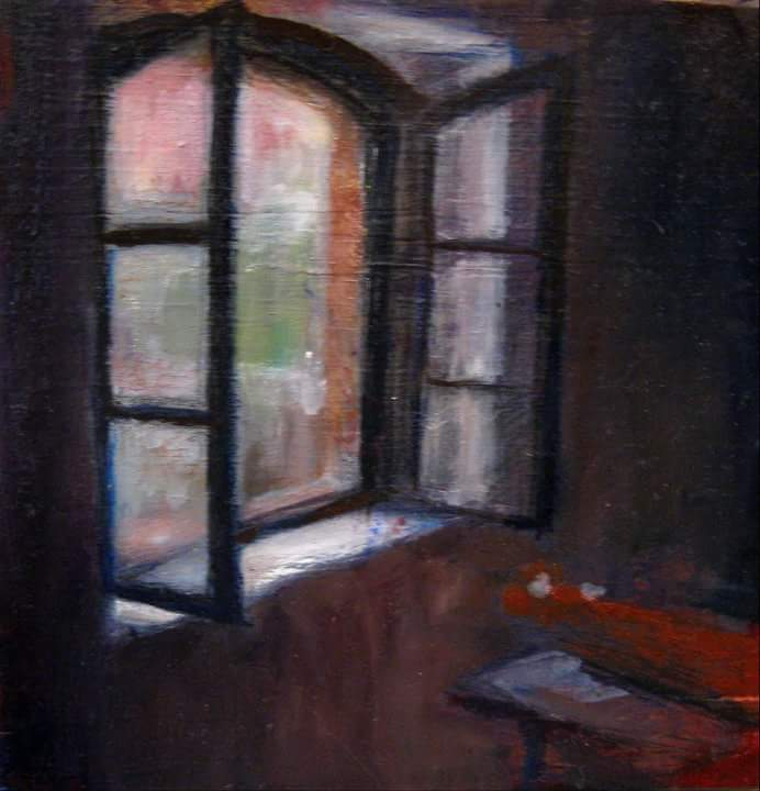 """Henia Flynn's """"View From Workbench"""" Acrylic on Wood"""