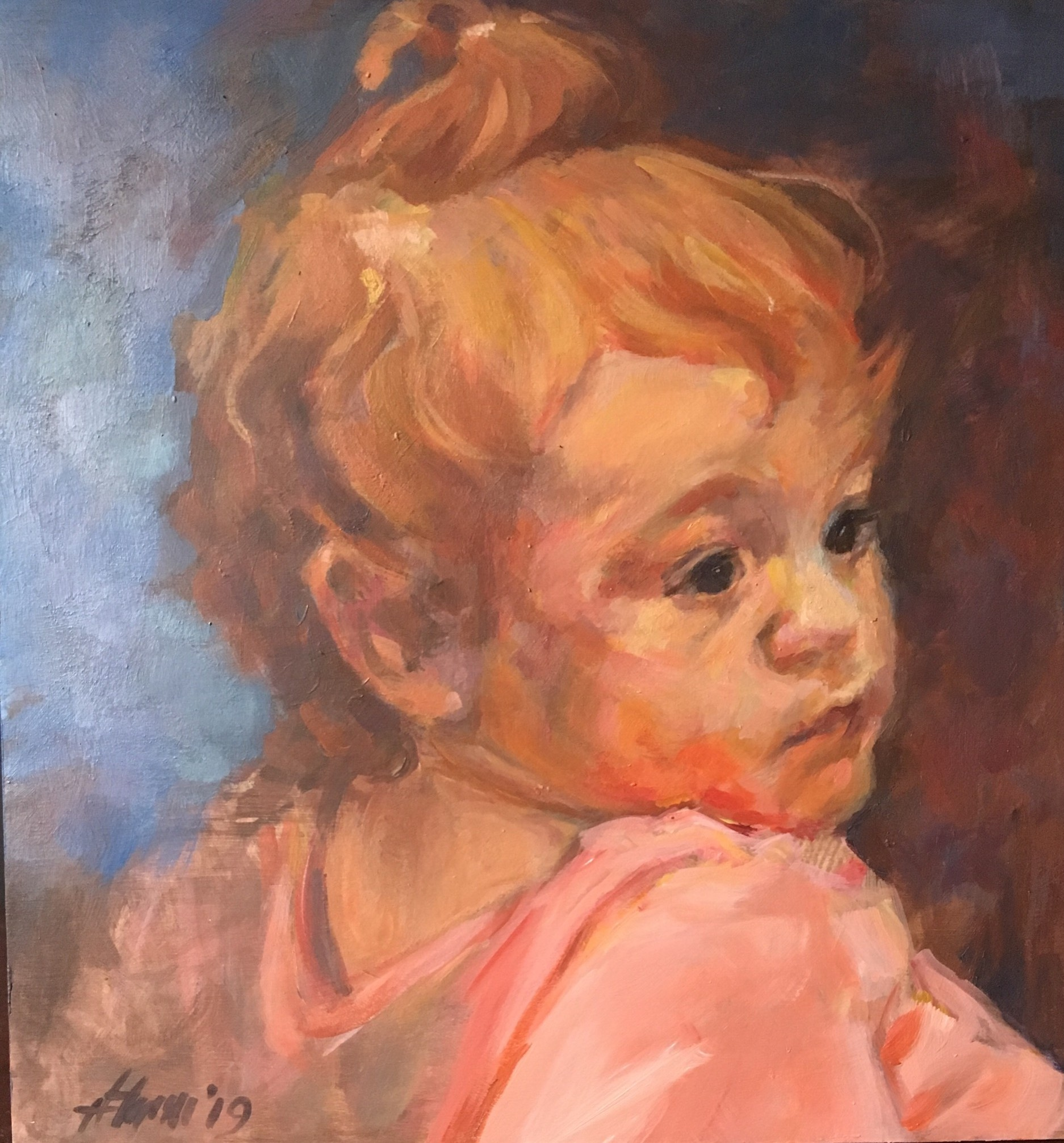 "Henia Flynn's ""Fire Baby"" Acrylic on Board 12"" x 12"" Commissioned Portrait"